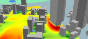 CFD simulation for the purpose of evaluating pedestrian comfort. Click image for article.