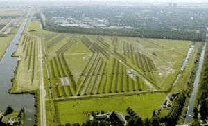 Buitenschot Landscape Art Park at Amsterdam's Schipol Airport uses these ridges to reduce noise pollution. Image from pauldekort.nl.