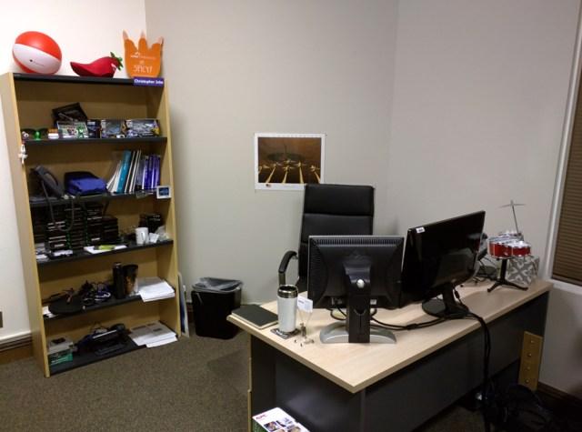Chris's current workspace.