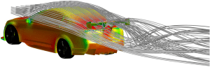 Surface pressure and streamlines are shown in this FieldView image of an OpenFOAM simulation. Image from Intelligent Light. See link above.