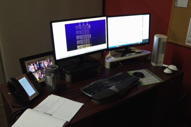 Mike's current workspace.