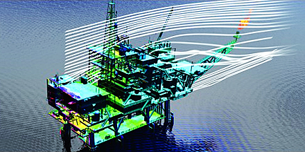 CD-adapco simulation of an offshore drilling rig. Image from Scientific Computing. See link above.