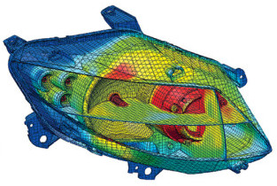 Example mesh and simulation from FloEFD for LED automotive headlights. Image from Engineering.com. Click image for article.