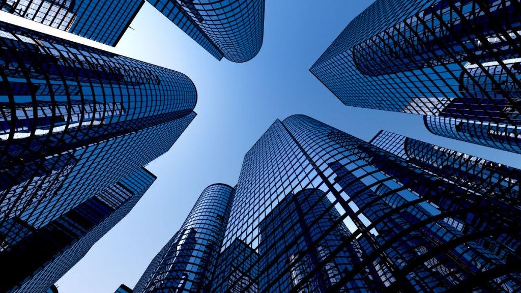 A união de prédios demonstrando o mundo corporativo