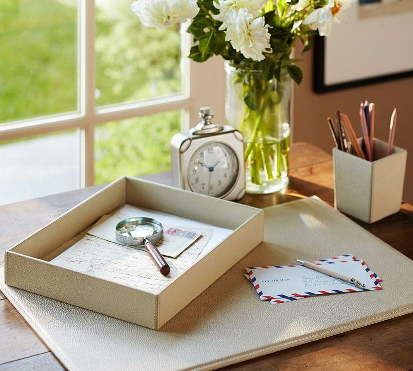 pebble leather desk
