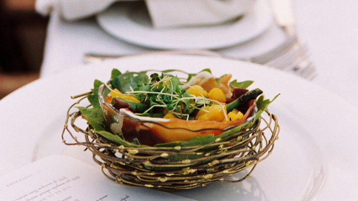 Beet Salad in a Wire Nest