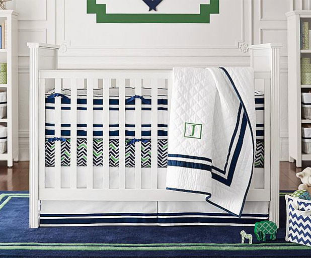 Clean Lines in this Navy and Green Nursery | 8 Nursery Trends for the New Year