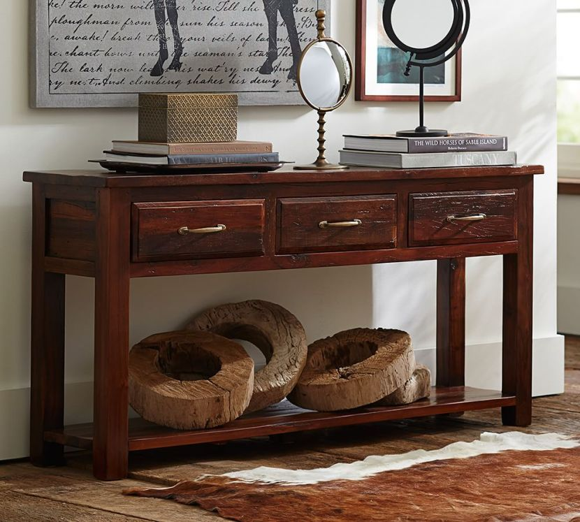 bowry reclaimed console table pottery barn