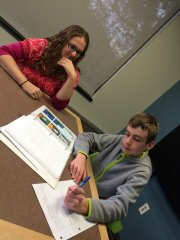 Nicole & Cameron work on his comic book, The Galaxy of Randomness.