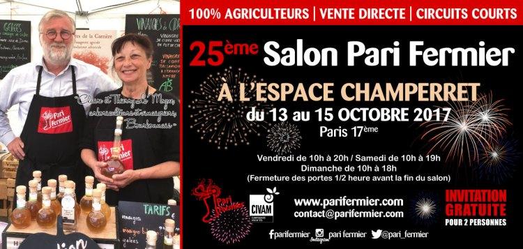 25e salon Pari Fermier à l'Espace Champerret du 13 au 15 octobre