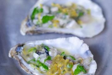 Tartare d'huîtres au fruit de la passion