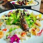 Carpaccio de Noix de Saint-Jacques et crevette bleue