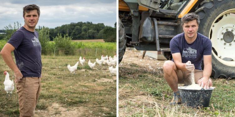 Olivier, de la Grange Renaud, et ses volailles de Bresse, qu'il complémente côté alimentation avec des céréales produites en Bresse (maïs et blé).