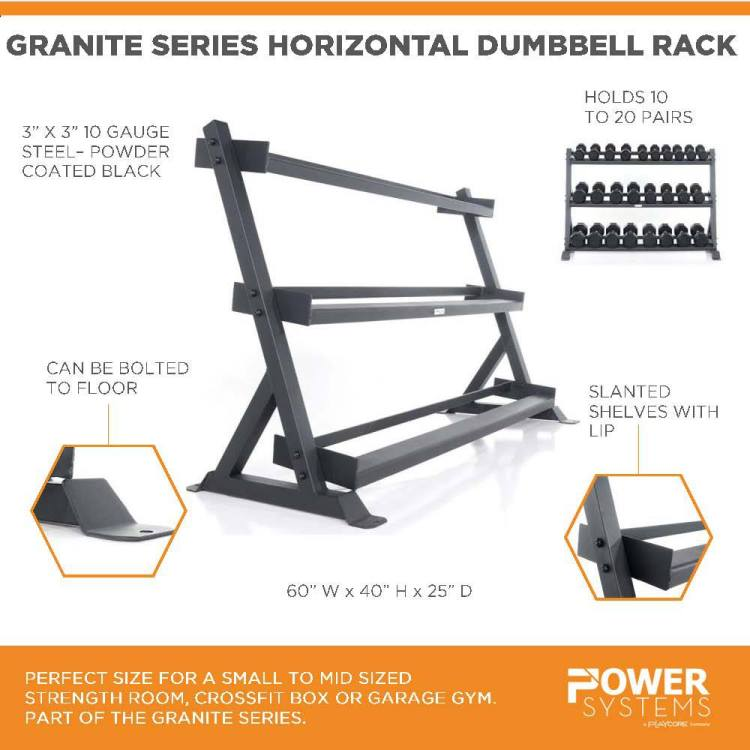 "Granite Series Horizontal Dumbbell Rack. Perfect size for a small to mid sized strength room, crossfit box or garage gym. Part of the Granite Series. 3""x3"" 10 gauge steel-powder coated black. Holds 10 to 20 pairs. Can be bolted to floor. Slanted shelves with lip. 60""W x 40""H x 25""D"