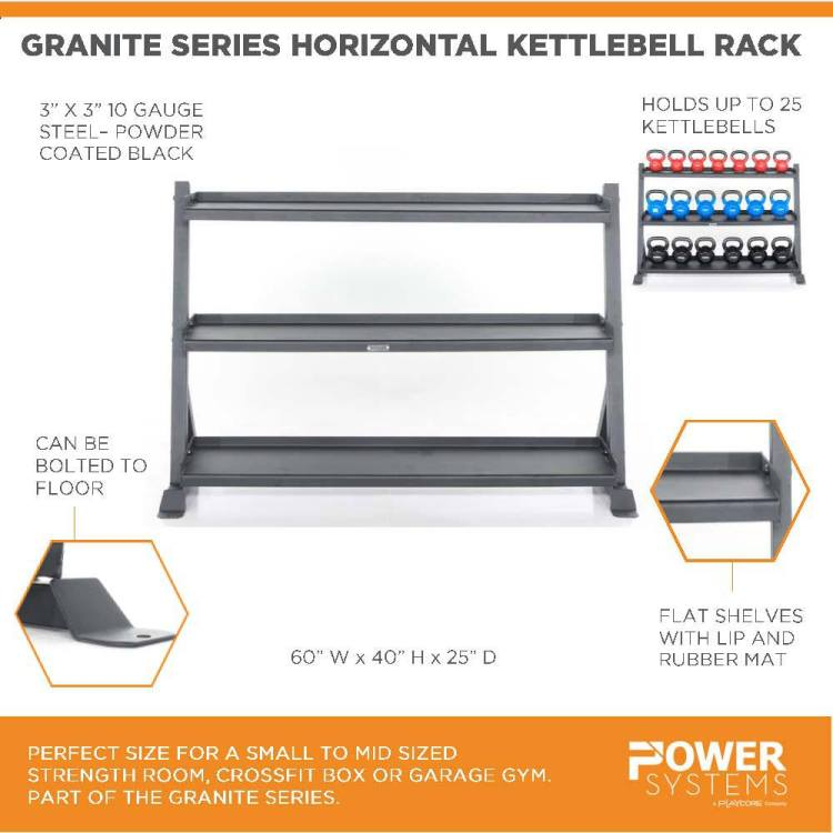 """Granite Series Horizontal Kettlebell Rack. Perfect size for a small to mid sized strength room, crossfit box or garage gym. Part of the Granite Series. 3"""" x 3"""" 10 gauge steel-powder coated black. Holds up to 25 kettlebells. Can be bolted to floor. Flat shelves with lip and rubber mat. 60""""W x 40""""H x 25""""D"""