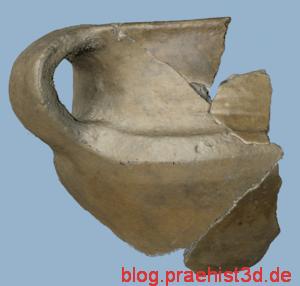 Aussenseite einer Tasse aus dem Havelland, bestehend aus acht Einzelscans