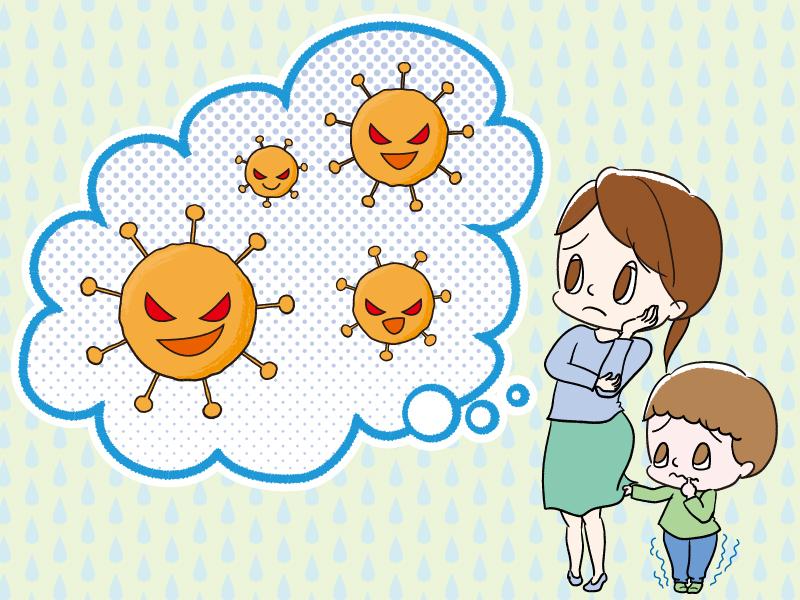 ウイルスに困る母子のイラスト
