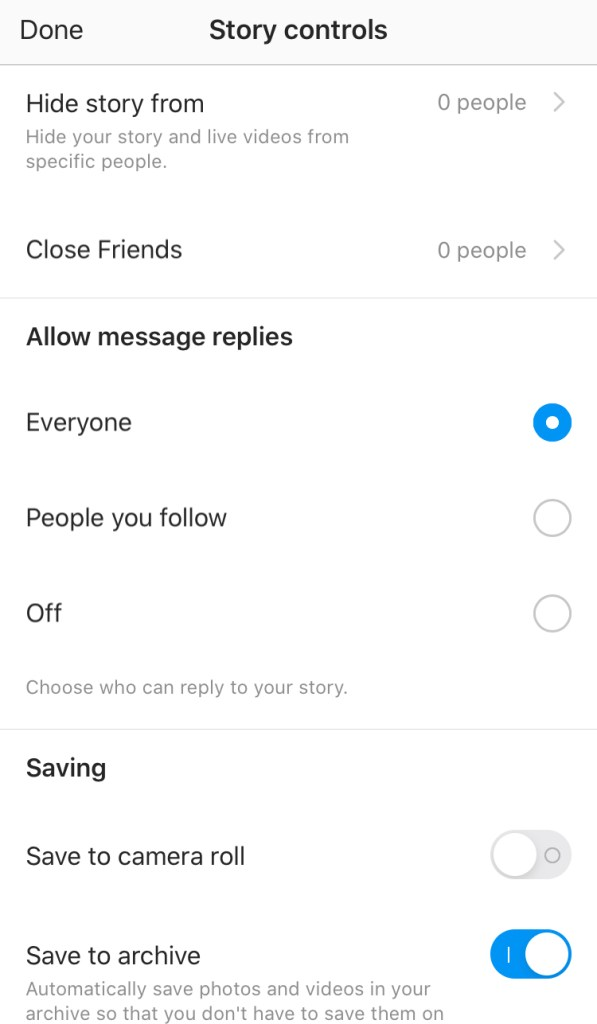 Instagram Live settings from Instagram Stories