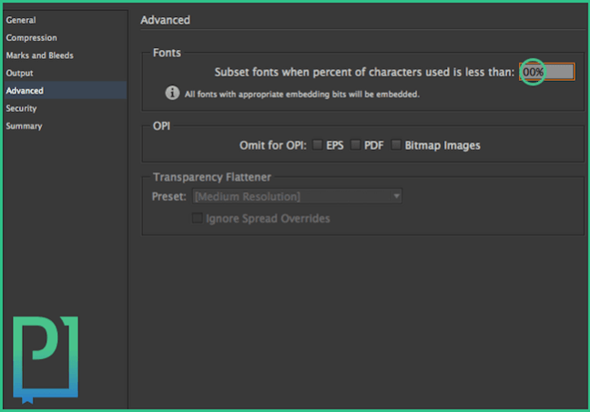 "Go to ""Advanced"" tab and set 0% at Fonts > Subset fonts  when percent of characters used is less than:"