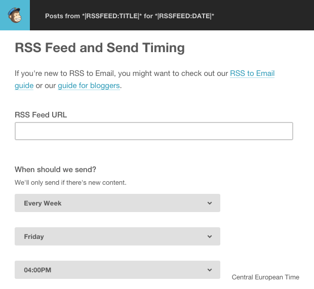 MailChimp rss feed and send time