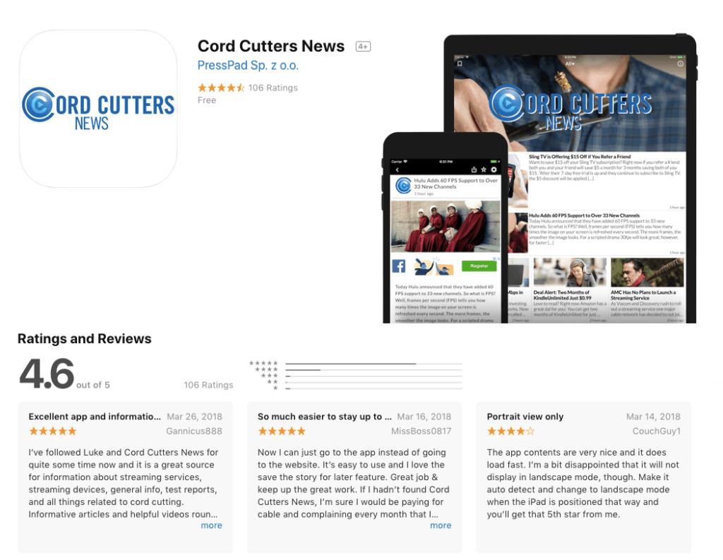 Cord Cutters News app