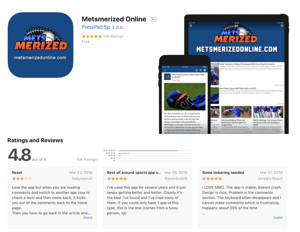 Mets fan news app