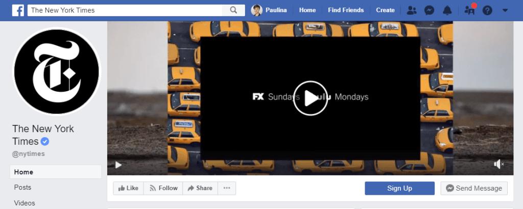 CTA button on Facebook