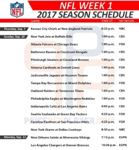 2017 NFL Week 1 Schedule