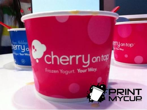 Cherry On Top Frozen Yogurt 1 www.printmycup.com custom printed yogurt cups