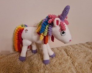 Large Rainbow Unitcorn - Pitter Patter Tiny Feet Knitting Emporium