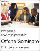 Offene Seminare Projektmanagement unter anderem in Konstanz, Heilbronn, Karlsruhe, Stuttgart