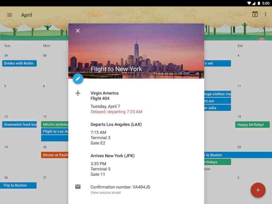 Example of fragmentation, Google Calendar