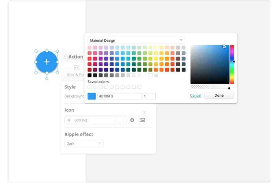 Material Design color palette readily available for use in Proto.io