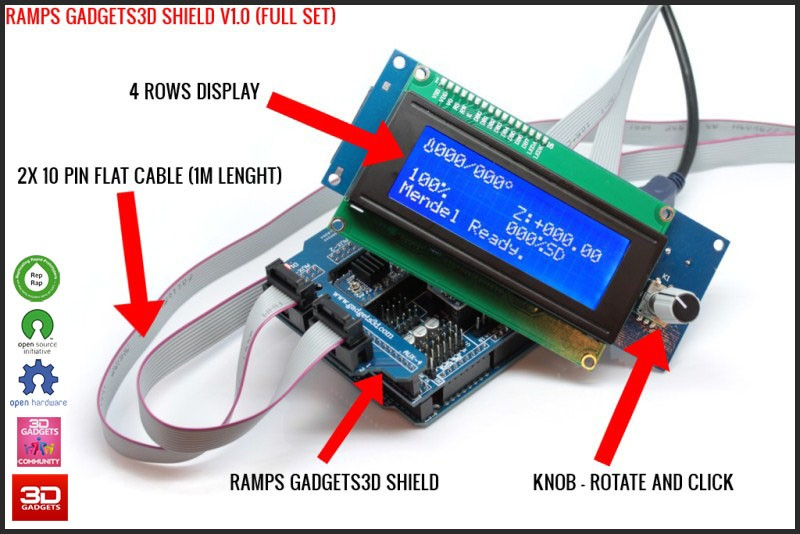 Gadgets D Shield Panel on 3d Printer Arduino Shield