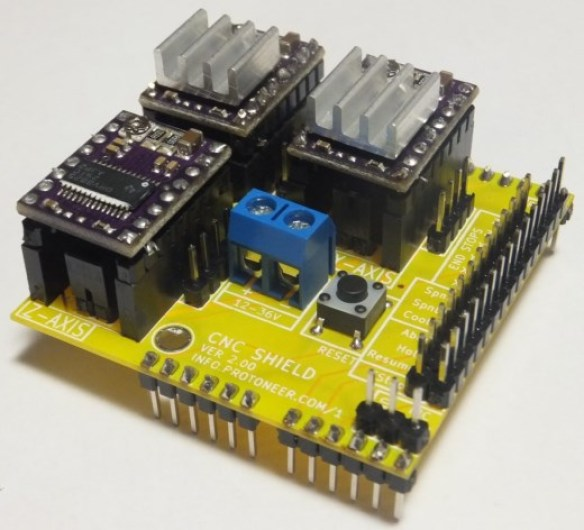 Arduino CNC Shield - Pololu Stepper Drivers Installed