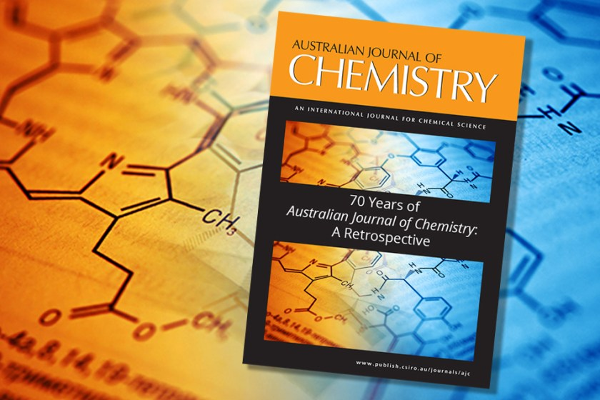 Australian Journal of Chemistry cover on abstract background with chemical equations