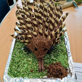 A cake in the shape of a Kangaroo Island short-beaked echidna