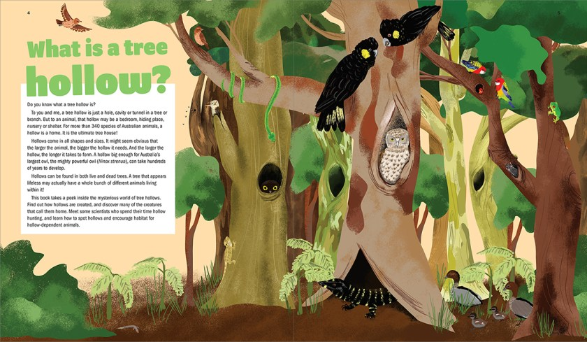Page spread from A Hollow is a Home featuring beautifully illustrated wildlife living in a tree