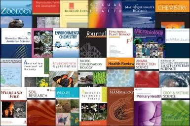 Collage of the covers of all 27 journals published by CSIRO Publishing