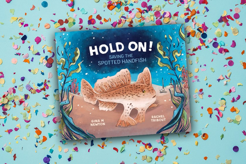 Cover of Hold On! Saving the Spotted Handfish picture book against a confetti background