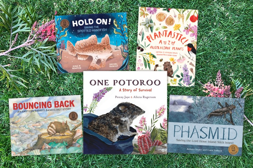 Five kids book covers on a background of real life grass. The books are Hold On, Plantastic, Bouncing Back, One Potoroo, and Phasmid
