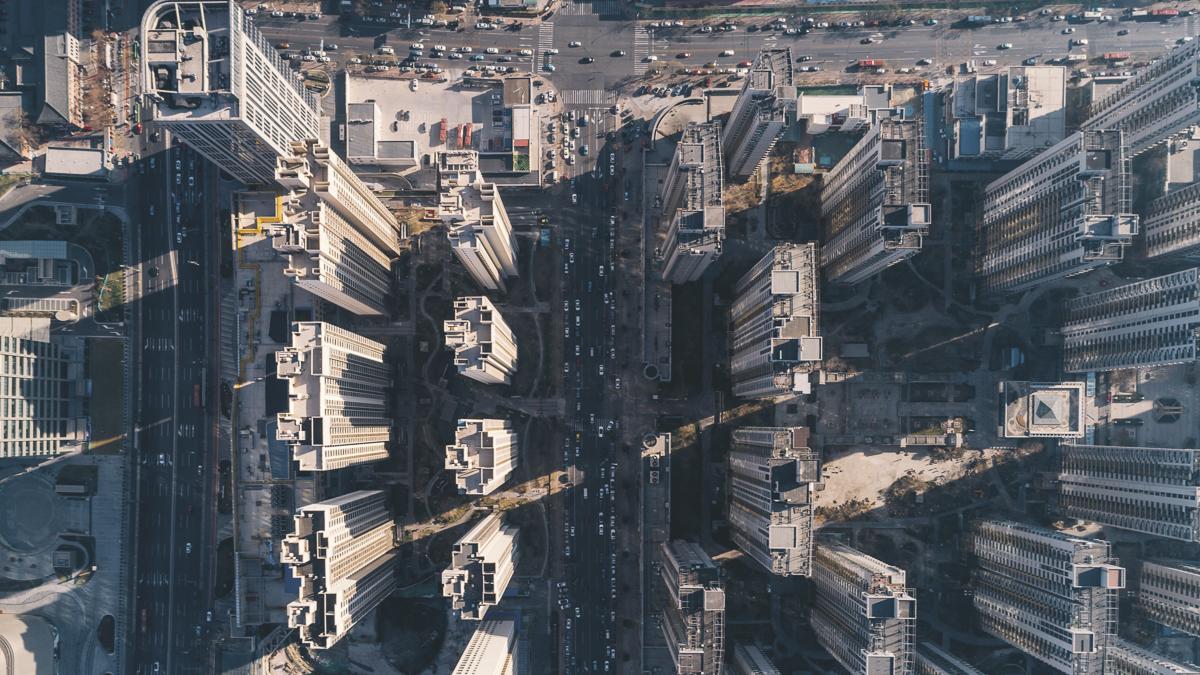 aerial residential building