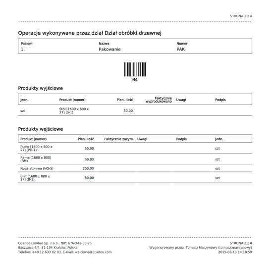 Przykładowa karta pracy w qcadoo MES