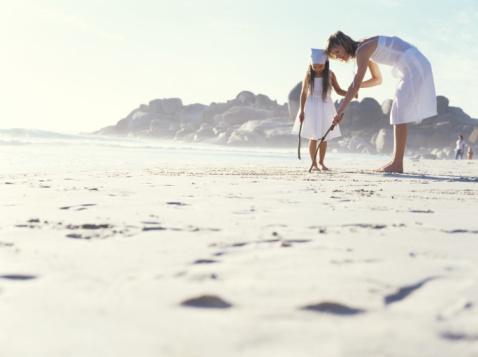 Playa, mar, familia, niños