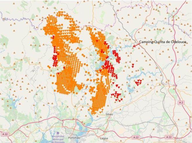 Overzicht van brand in Monchique op 9 augustus 2018