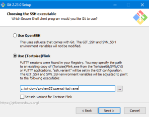Select (Tortoise)Plink and provide the path c:\windows\system32\openssh\ssh.exe to the Git setup