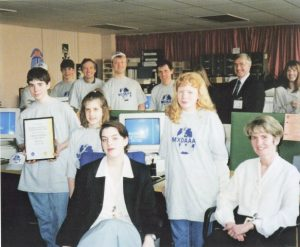 '1996: RADARC members with staff of the Radiocommications Agency and Subscription Services Ltd at the presentation of the M0AAA licence'