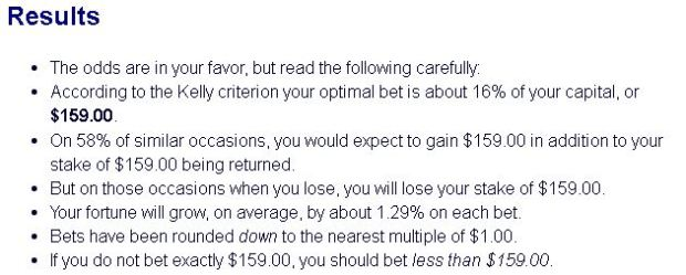 1:1 payout, 58% chance of winning. Kelly spits out 15.9% as the ideal bet!