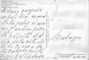 Postal años 40-50 - 2041 Atardecer en el rompeolas. Barcelona. Back