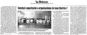 Concluyó capacitación a organizaciones de base Distrito 7 (Septiembre 2001)